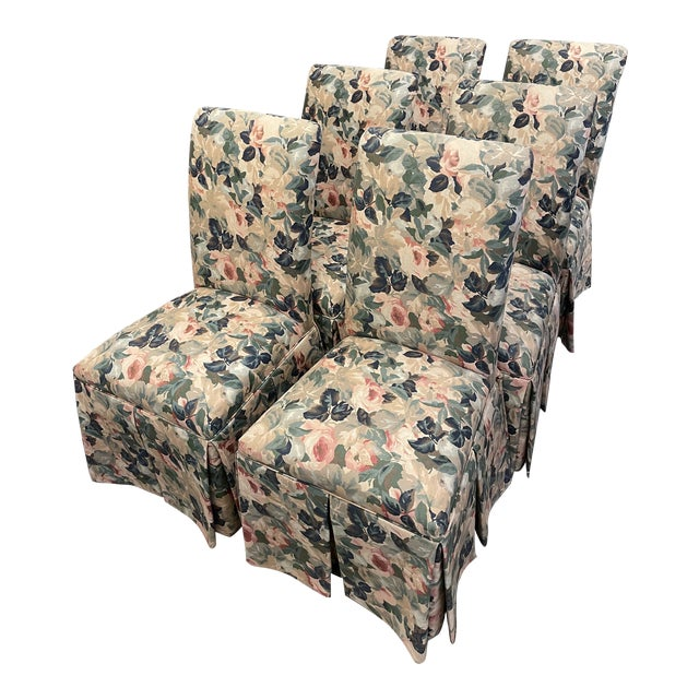1960s Vintage Floral Parson Style Side Chairs - Set of 4 For Sale