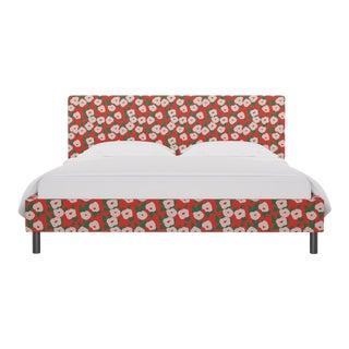 California King Tailored Platform Bed in Red Belle Du Jour For Sale