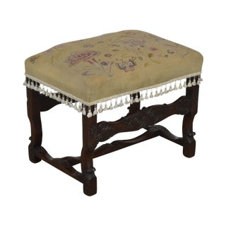 Italian Renaissance Antique Carved Needlepoint Ottoman Bench For Sale