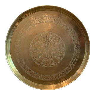 Vintage Solid Brass Tray With Etching For Sale