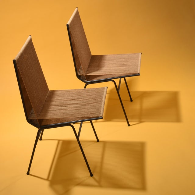 """Rare """"Bow"""" or """"String"""" lounge chairs manufactured by Allan Gould Designs, New York USA, 1952 Cord, steel frame 20.13 w x..."""