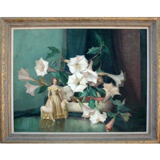 Mid 20th Century Art Deco Style Figurine Still Life Oil Painting, Framed For Sale