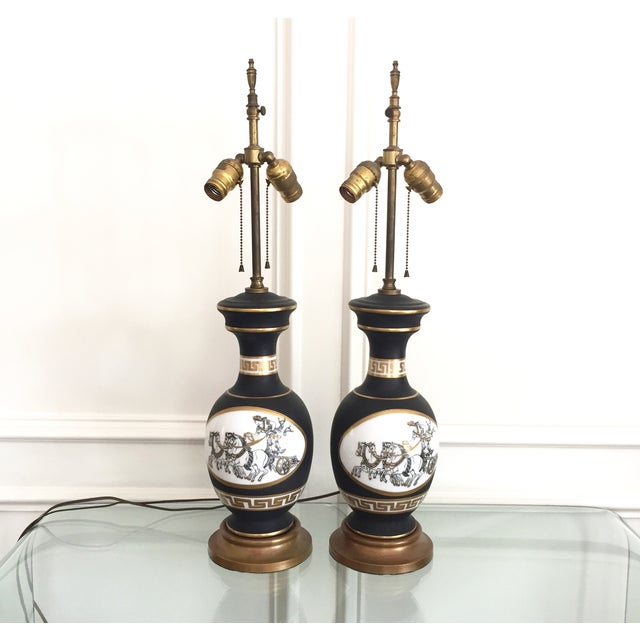 Black Porcelain Lamps with Gold Shades - A Pair - Image 4 of 11
