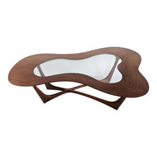 Erno Fabry Biomorphic Walnut & Glass Cocktail Table For Sale