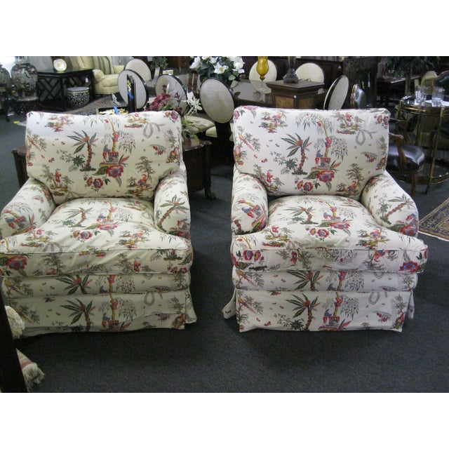 Vintage Toile Club Chairs - Pair - Image 2 of 7