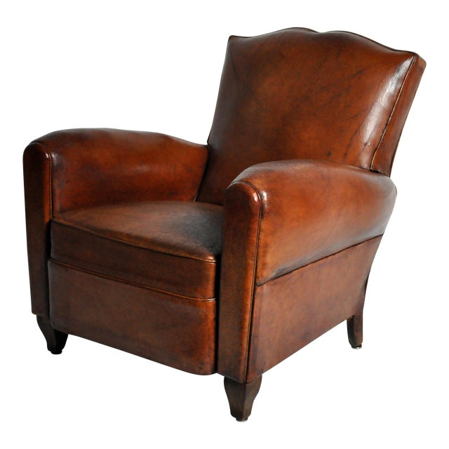Art Deco Leather Club Chair - Image 1 of 11