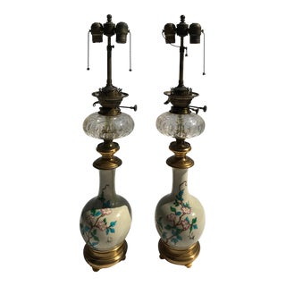 Antique Crystal Glass and Porcelain Table Lamp/Floor Lamps - a Pair For Sale