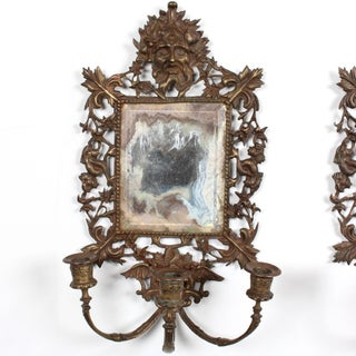 19th C. Venetian Bronze Mirror Candle Sconces - a Pair Preview
