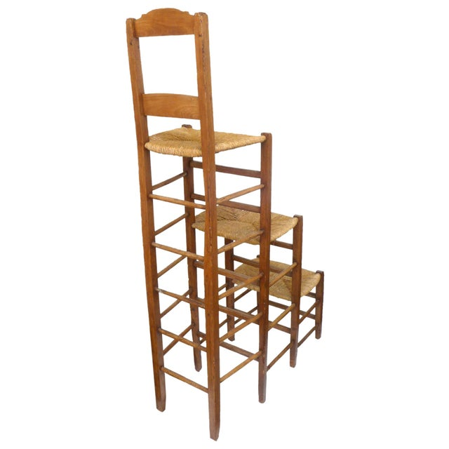 Unusual Triple-Stepped Wood and Woven Rush Chair For Sale - Image 4 of 6