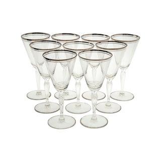 Dorothy Thorpe Silver Rim Wine Glasses - Set of 9 For Sale