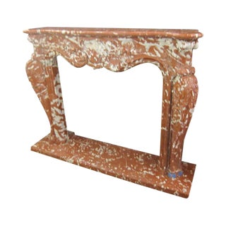 1970s French Red, Gray & White Marble Mantel