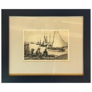 """1929 Reynolds Beal """"Nassau Waterfront"""" Drawing For Sale"""