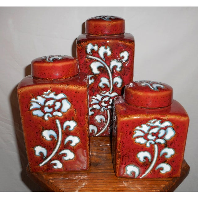 Chic Kitchen Oxblood Red Glaze Pottery Canisters - Set of 3 - Image 7 of 13