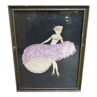 1940s Vintage Painted Girl With Fabric Dress For Sale