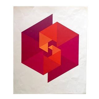"Klein Op Art Screen Print Mid Century Modern ""Spiral Triangles"" 1972 For Sale"