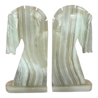 XL Horse Head Solid Onyx Stone Bookends - a Pair For Sale