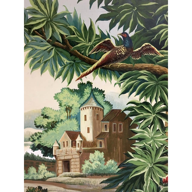 Country Hand Painted French Taperstry Scenery on Canvas Panel For Sale - Image 3 of 6