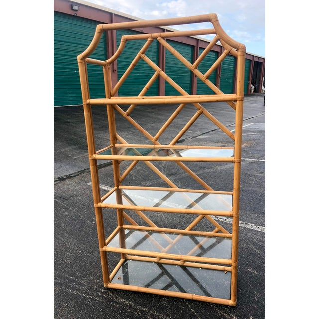 Gorgeous bamboo etagere. Super tall at 78 inches. Glass removable shelves.