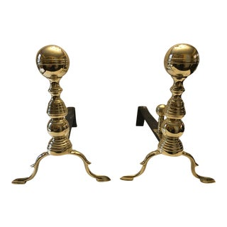 Antique Brass and Iron Andirons - a Pair For Sale