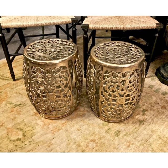 Asian Pair Mastercraft-Style Cast Brass Garden Stools, Scrolling Vines, C. 1960 For Sale - Image 3 of 6