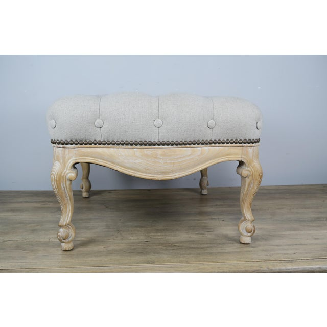 French Pair of French Belgium Linen Tufted Benches For Sale - Image 3 of 8