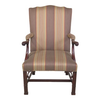 Chinese Chippendale Carved Mahogany Open Armchair For Sale