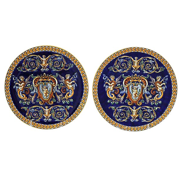 French Gien Wall Plates - Pair For Sale