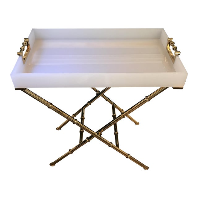 Bamboo Gold Table: White Lucite & Gold Bamboo Meurice Trey Table
