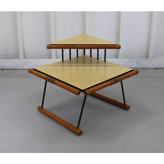 1950s Unique Mid-Mod Rattan & Iron Corner Table 121a For Sale - Image 5 of 5