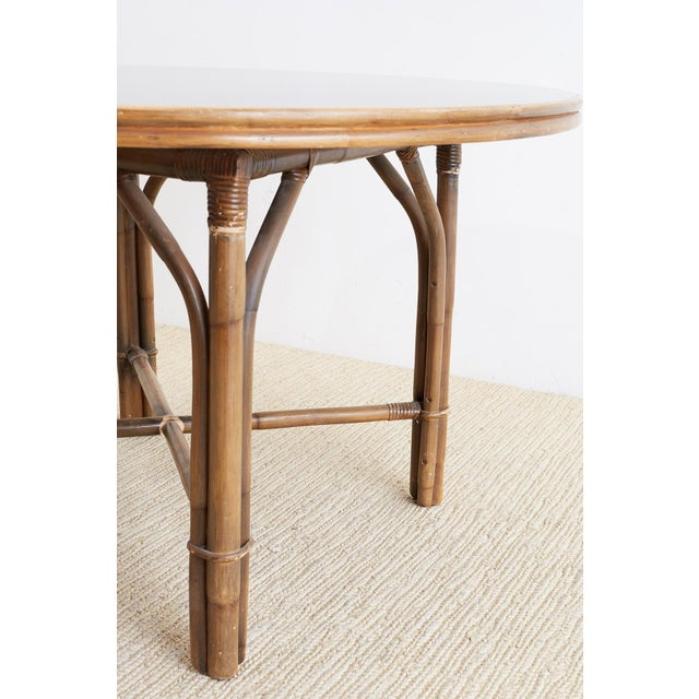 Black Ficks Reed Midcentury Rattan Dining Table For Sale - Image 8 of 13