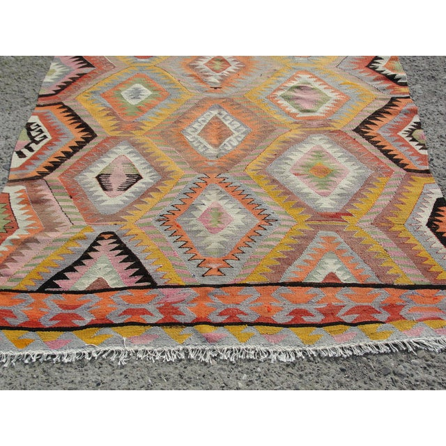 Vintage Turkish Kilim Rug - 5′5″ × 7′10 For Sale - Image 9 of 11