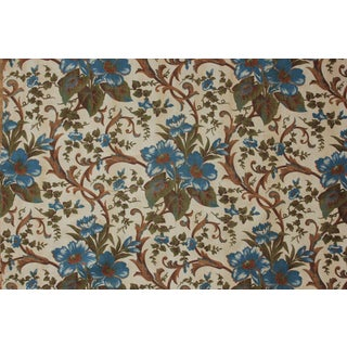 Antique Fabric French Printed Blue Floral Rococo Scroll Block Printed Cotton For Sale