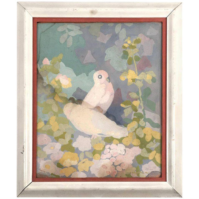 Art Deco Gouache Painting of Doves in a Floral Landscape For Sale