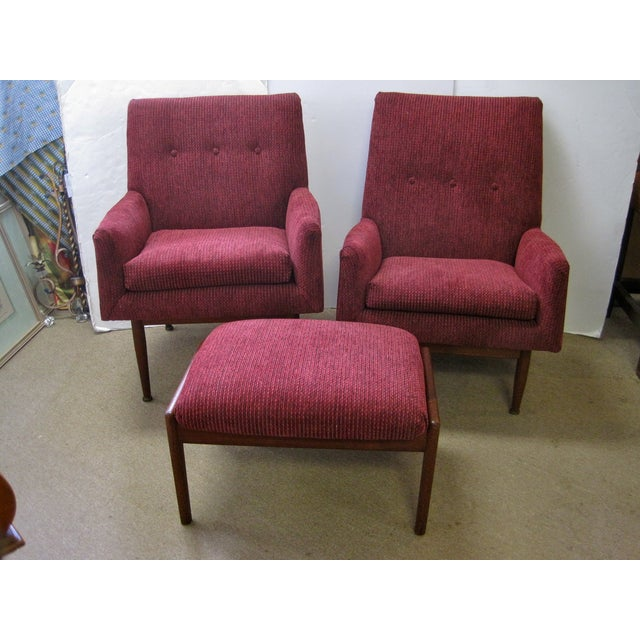Jens Risom Male & Female Chairs & Ottoman - S/3 - Image 2 of 11
