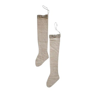 Linen Christmas Stockings - A Pair For Sale