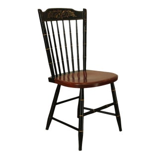 Hitchcock Black Painted Stenciled Maple Side Chair For Sale