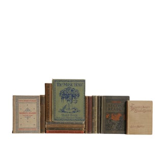 Turn-Of-The-Century School House - Set of Fifteen Decorative Antique Books