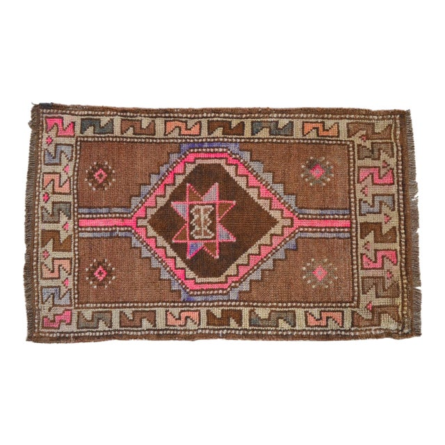 Distressed Low Pile Natural Background Yastik Rug Small Rug - 26'' X 42'' For Sale