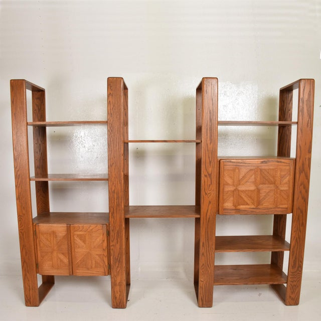 For your consideration, a Mid Century Modern Solid Oak Wood Wall Unit by Lou Hodges. USA circa 1970s. Firm and sturdy....