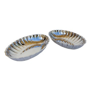Silver Plate Coved & Fluted Server Bowls -Set of 2 For Sale