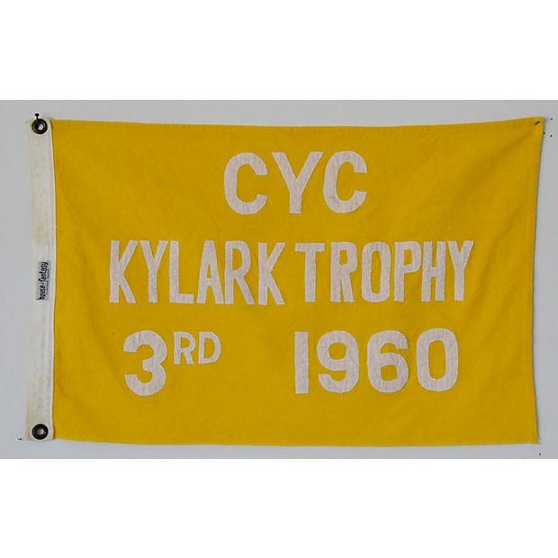 Boho Chic 1960 Historic Cleveland Yacht Club Trophy Winning Flag For Sale - Image 3 of 4