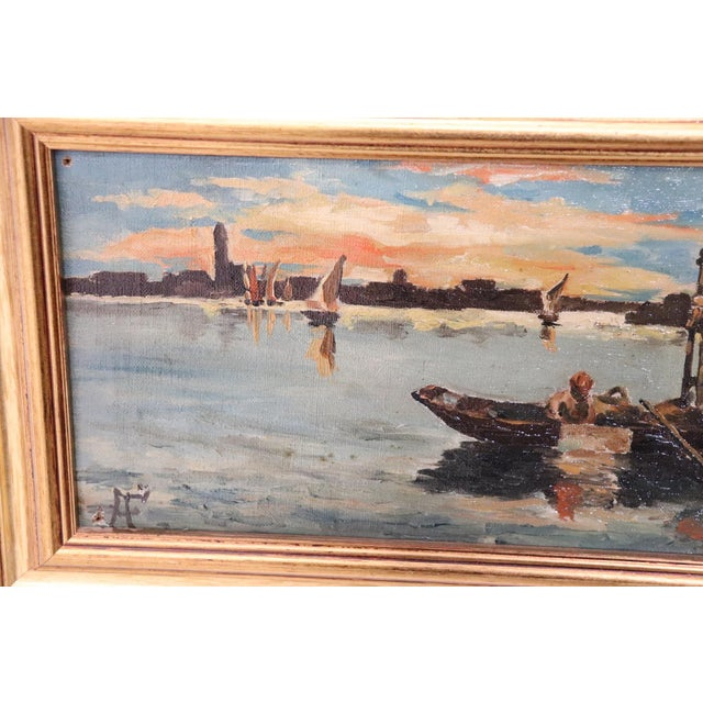 Impressionism 20th Century Venice Oil Painting on Canvas With Golden Frame For Sale - Image 3 of 7