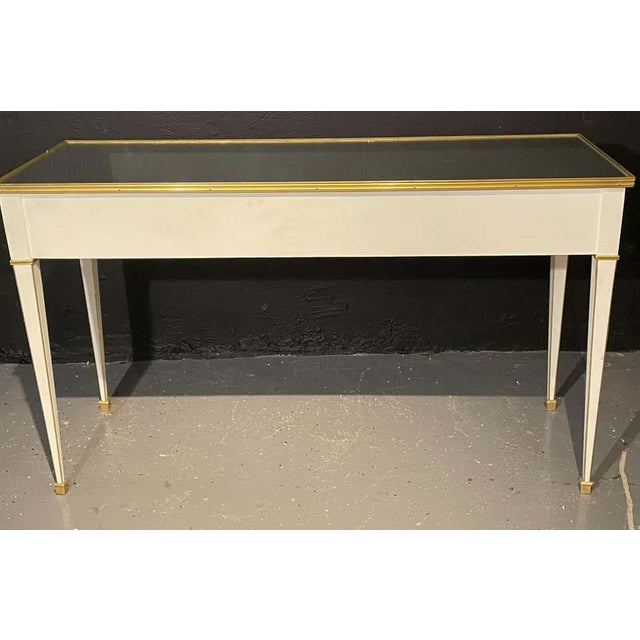 Jansen Hollywood Regency Style Console / Sofa Tables, Mirrored & Painted - a Pair For Sale In New York - Image 6 of 13