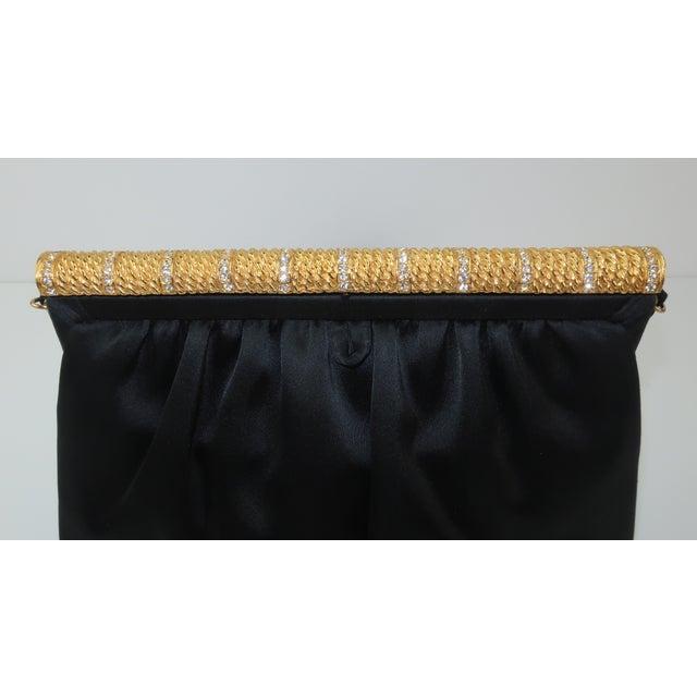 Givenchy C.1980 Givenchy Black Satin Evening Handbag With Rhinestone Closure For Sale - Image 4 of 13
