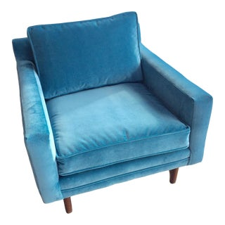 Mid Century Modern Adrian Pearsal Style Blue Club Chair For Sale