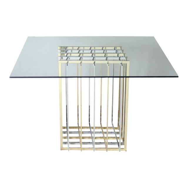 Pierre Cardin Mixed Chrome and Brass Grid Table For Sale