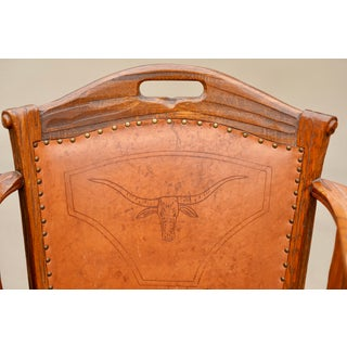 Mid Century Heirloom A. Brandt Ranch Oak Cowboy Longhorn Embossed Leather Western Chairs Preview