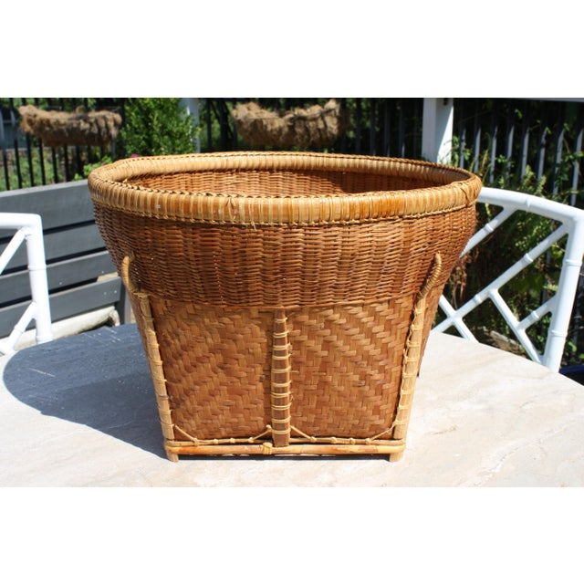 1970s Large Vintage Woven Basket Planter For Sale - Image 5 of 13
