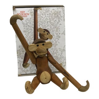 Mid Century Danish Modern Teak and Ebony Articulated Monkey by Kay Bojensen For Sale