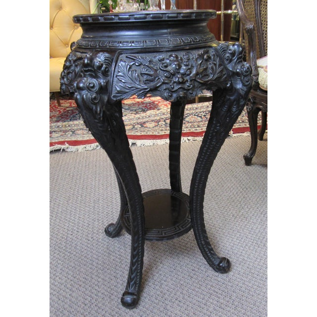 Antique Ebonized Carved Wood Chinese Plant Stand For Sale - Image 12 of 12